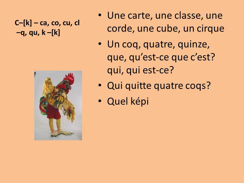 C–[k] – ca, co, cu, cl –q, qu, k –[k]